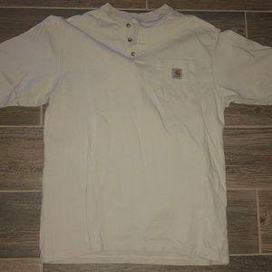 Men CARHARTT Heavy Cotton Button Neck Shirt M
